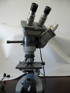 American Optical 1036a Spencer Microscope W 3 Objectives Micro Science Biology