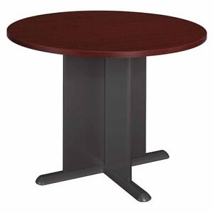 Bush Round Conference Table Mahogany Top And Edge graphite Gray Base Tb36742a
