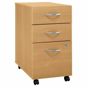 Bush Corsa Series 3 drawer Rolling File Storage Cabinet Light Oak Bshwc60353su