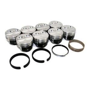 Speed Pro H345dcp40 350 Sbc Flat Top Pistons 5 7 Press Fit Moly Rings Set Chevy