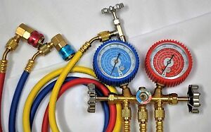 Tool Kit manifold Gauge R22 R134a hose Set car Quick Snap Coupler can Tap Hvac