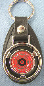 Vintage Red Packard Mini Steering Wheel Black Leather Key Ring Key Fob