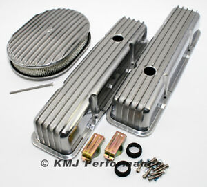 58 86 Sbc Chevy 327 Finned Retro Polished Aluminum Valve Covers 12 Air Cleaner