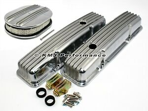 Sbc Chevy 305 350 Finned Short Polished Aluminum Valve Covers Air Cleaner