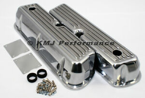 62 85 Sbf Ford 302 Retro Finned Polished Aluminum Tall Valve Covers 289 351w 5 0