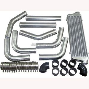 Universal 2 5 Aluminum Piping Kit 28 Fmic Turbo Intercooler Black Hoses