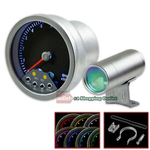 4 Silver Universal Race 7 Color Led Shift Light Display Tachometer Gauge Meter