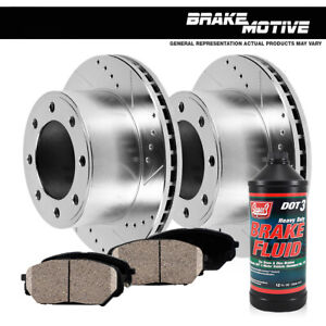 Front Drill And Slot Brake Rotors Ceramic Pads For 1994 1999 Ram 2500 3500