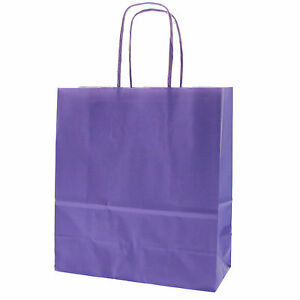 Lilac Party Paper Carrier Bags With Twisted Paper Handles Size 20 X 18 X 8