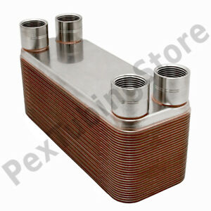 30 plate 3x8 Water To Water Brazed Plate Heat Exchanger 3 4 Fpt 316l St Steel