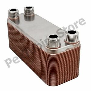 50 plate 3x8 Water To Water Brazed Plate Heat Exchanger 3 4 Mpt 316l St Steel