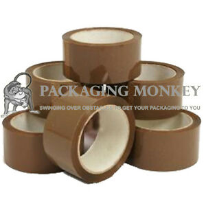 36 X Rolls Of Brown Buff Packing Parcel Tape 48mm X 66m