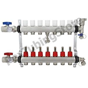 7 branch Pex Radiant Floor Heating Manifold Set Stainless Steel For 1 2 Pex