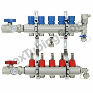 5 branch Pex Radiant Floor Heating Manifold Set Brass For 3 8 1 2 5 8 Pex