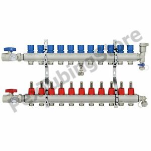 11 branch Pex Radiant Floor Heating Manifold Set Brass For 3 8 1 2 5 8 Pex