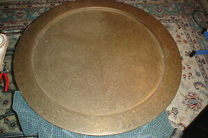 Vintage Brass Charger Tray Table Top Only Hand Made In India 34 Wide