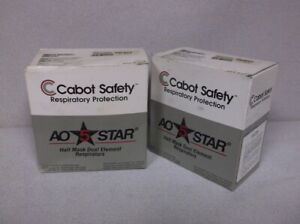 Two Cabot Safety 50099 00000 Half Face Silicone Respirators New
