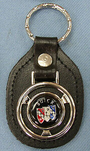 Vintage Black Buick Tri Shield Steering Wheel Black Leather Key Ring Fob