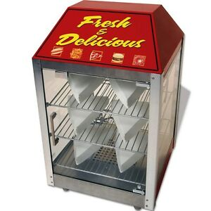 Heated Pizza Display Cabinet Food Warmer Countertop Glass Door Merchandiser Case