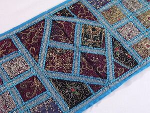 Blue Beaded Indian Textile Home Decorating Wall Hanging Table Runner Throw 60