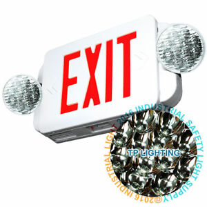 Led Exit Sign Emergency Light High Output Red Compact Combo Ul 924