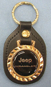 Vintage Black Jeep Wrangler Royal Classic Gold Type Key Ring Black Leather Fob