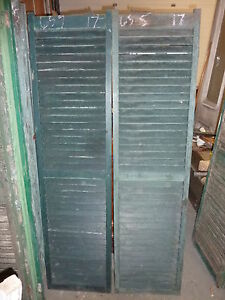 Pair Antique Victorian Fixed Louvered House Window Shutters Green 65 5 X 17