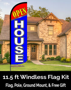Open House red blue Windless Feather Banner Flag Kit flag Pole