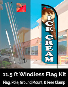 Ice Cream teal Windless Feather Banner Flag Kit flag Pole Ground Mt