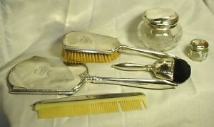 6 Pc Webster Sterling Silver Vanity Set Mirror Brush Comb Powder Rouge Jars Plus