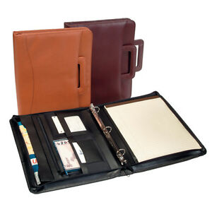 Royce Leather Zip Around Binder Padfolio Premium Bonded Leather Tan