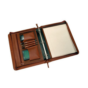 Royce Deluxe Convertible Zip Around Binder Padfolio Top Grain Nappa Leather Tan