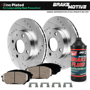 Front Kit Drilled And Slotted Brake Rotors Ceramic Pads For G20 Nissan Sentra