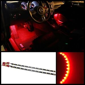 2x 12 Red 12 Smd Led Interior Exterior Strip Footwell Ambient Light Hid B3