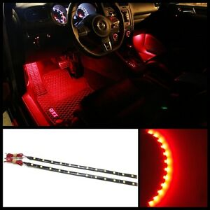 2x 12 Red 12 Smd Led Interior Strip Footwell Ambient Light Exterior B3