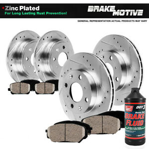 Front rear Drill Slot Brake Rotors Ceramic Pads For Acura Integra Honda Civic