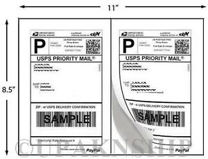 1000 Premium Paypal Postage Labels 2 Labels To Page 8 5x5 5 W Square Edges