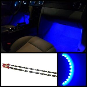 2x 12 Blue 12 Smd Led Interior Strip Footwell Ambient Light Exterior b2