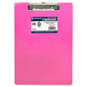 New Pink Saunders Plastic Clipboard W Low Profile Clip Neon Letter Size 8 5 Inc