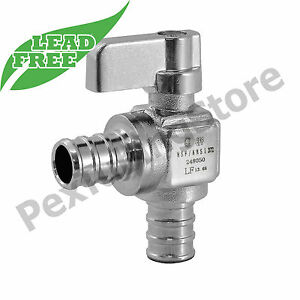 10 1 2 Pex X 1 2 Pex Crimp Angle Outlet Stop Valves 1 4 turn Lead free Nsf