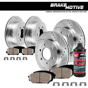 Front rear Drill Slot Brake Rotors Ceramic Pads For Escalade Chevy Tahoe Yukon