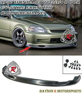 Gv Style Time Attack Front Lip Urethane Fits 99 00 Honda Civic 2 3 4dr