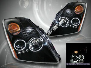 Fit 07 09 Sentra Two Ccfl Halo Rims Angel Eyes Led Projector Headlights Black