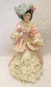 Large Antique Dresden Lace Pink White Dress Porcelain Victorian Lady Figurine