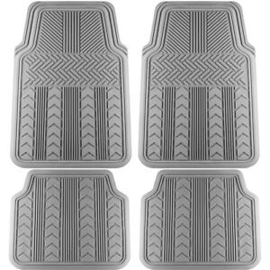 Car Floor Mats For All Weather Rubber 4pc Set Tire Tread Fit Heavy Duty Grey