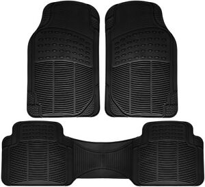 Truck Floor Mats For Toyota Tacoma 3pc Set All Weather Rubber Semi Custom Black