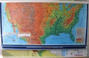 Texas World And United States Map By Cram 3 Layer Map Measures 69 X 46 Inches