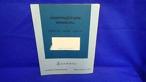 Lambda Model Lq 530 9563 1 Instruction Manual