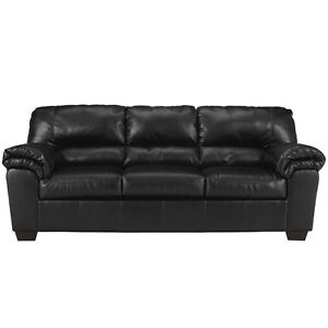Ashley Design Commando Upholstered Living Room Sofa Couch In Black Leather