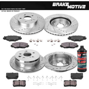 Front Rear Drill Slot Brake Rotors And Ceramic Pads For 2006 2012 Lexus Is250